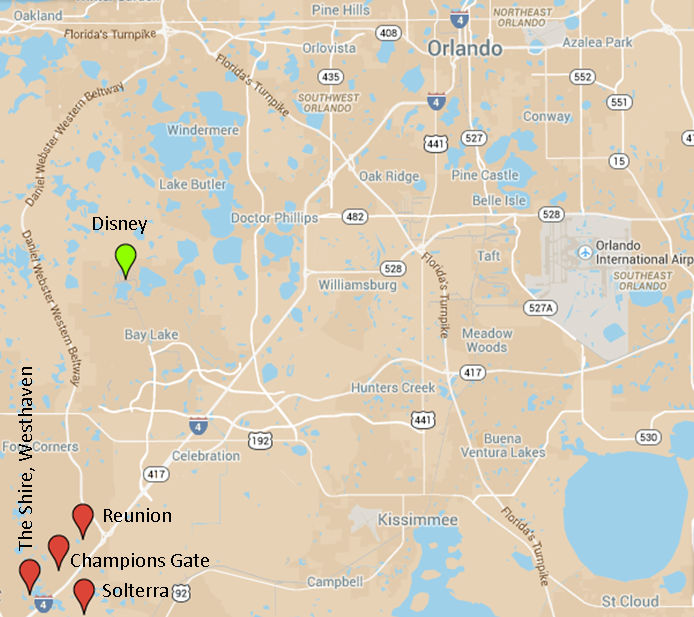 Orlando map showing areas with property for sale